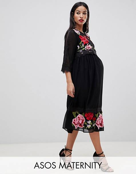 b807f02995daf ASOS DESIGN Maternity double layer midi embroidered dress