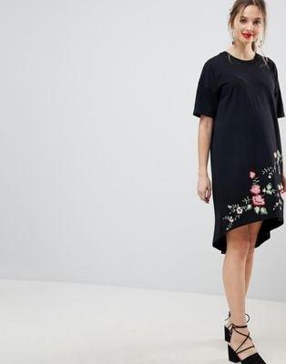 ASOS DESIGN Maternity embroidered hem t-shirt dress with hi lo hem