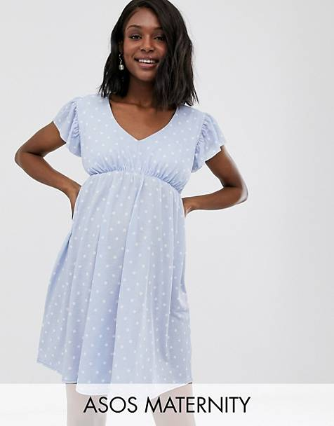 0e5b7d2dbea21 ASOS DESIGN Maternity exclusive mini textured smock dress in spot