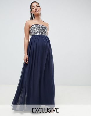 Image 1 of ASOS DESIGN Maternity EXCLUSIVE star embellished bandeau maxi dress