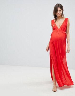ASOS DESIGN maternity gathered waist crinkle high low hem beach dress