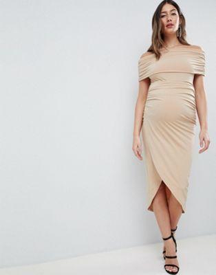 ASOS DESIGN Maternity - kimmi - Robe mi-longue avec fronces coupe près du corps et style Bardot