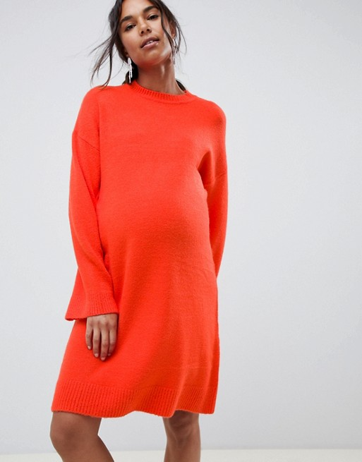 ASOS DESIGN Maternity knitted mini dress in fluffy yarn