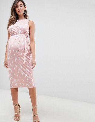 ASOS DESIGN Maternity knot front slinky midi dress in print