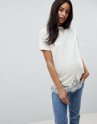 ASOS DESIGN Maternity lace mix longline t-shirt in cream