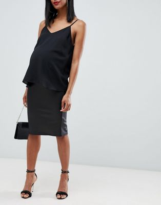 Image 1 of ASOS DESIGN Maternity leather look pencil skirt