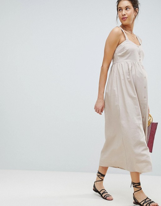 995d3eae556d0 ASOS DESIGN Maternity Linen Button Through Maxi Dress | ASOS