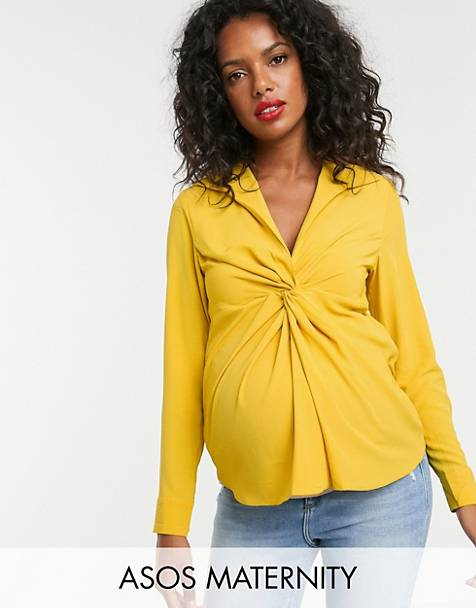 47b3cf90805b5 ASOS DESIGN Maternity long sleeve plunge shirt with knot front