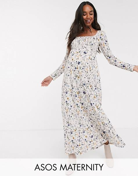 ASOS DESIGN Maternity long sleeve square neck shirred maxi dress in floral print