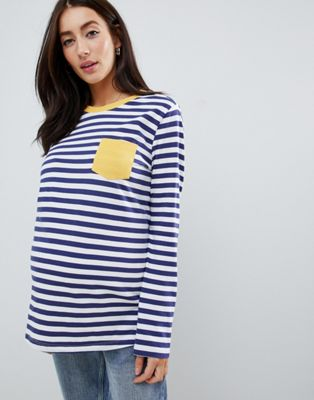 ASOS DESIGN Maternity long sleeve stripe top with contrast pocket