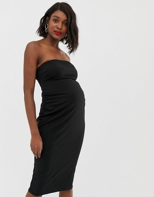 Afbeelding 1 van ASOS Design - Maternity - Midi-bandeaujurk