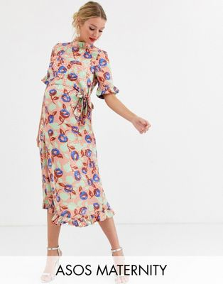 ASOS DESIGN Maternity midi jacquard floral dress with belt