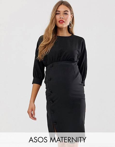 916576d6ff ASOS DESIGN Maternity midi pencil dress with button skirt