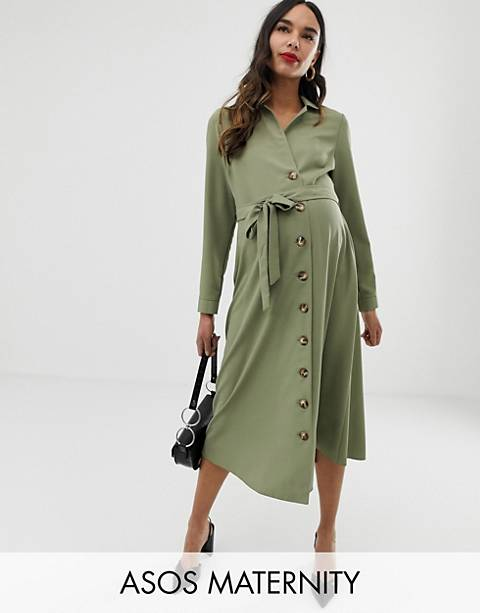 ASOS DESIGN Maternity midi shirt dress with buttons