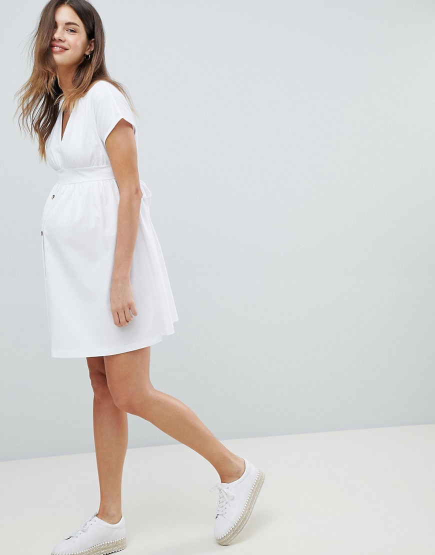 Asos Design Maternity Mini Dress With Belt And Faux Tortoiseshell Buttons by Asos Design