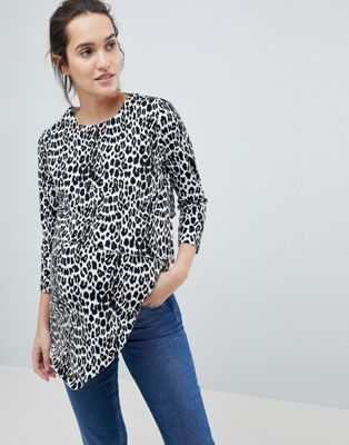 ASOS DESIGN Maternity Nursing Asymmetric Top With Double Layer In Mono Animal Print
