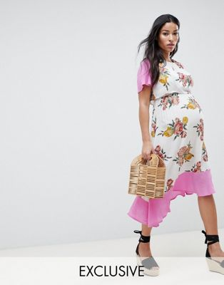 ASOS DESIGN Maternity nursing double layer dress in floral print