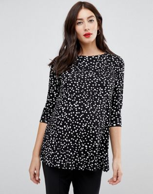 ASOS DESIGN Maternity nursing double layer top with long sleeve in scatter spot