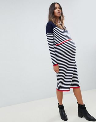 Image 1 of ASOS DESIGN Maternity Nursing eco jumper dress in fine knit in stripe