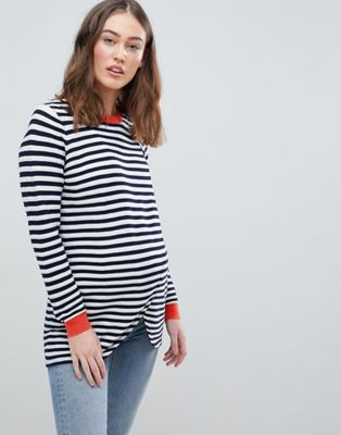 ASOS DESIGN Maternity Nursing eco wrap jumper in ripple stitch stripe