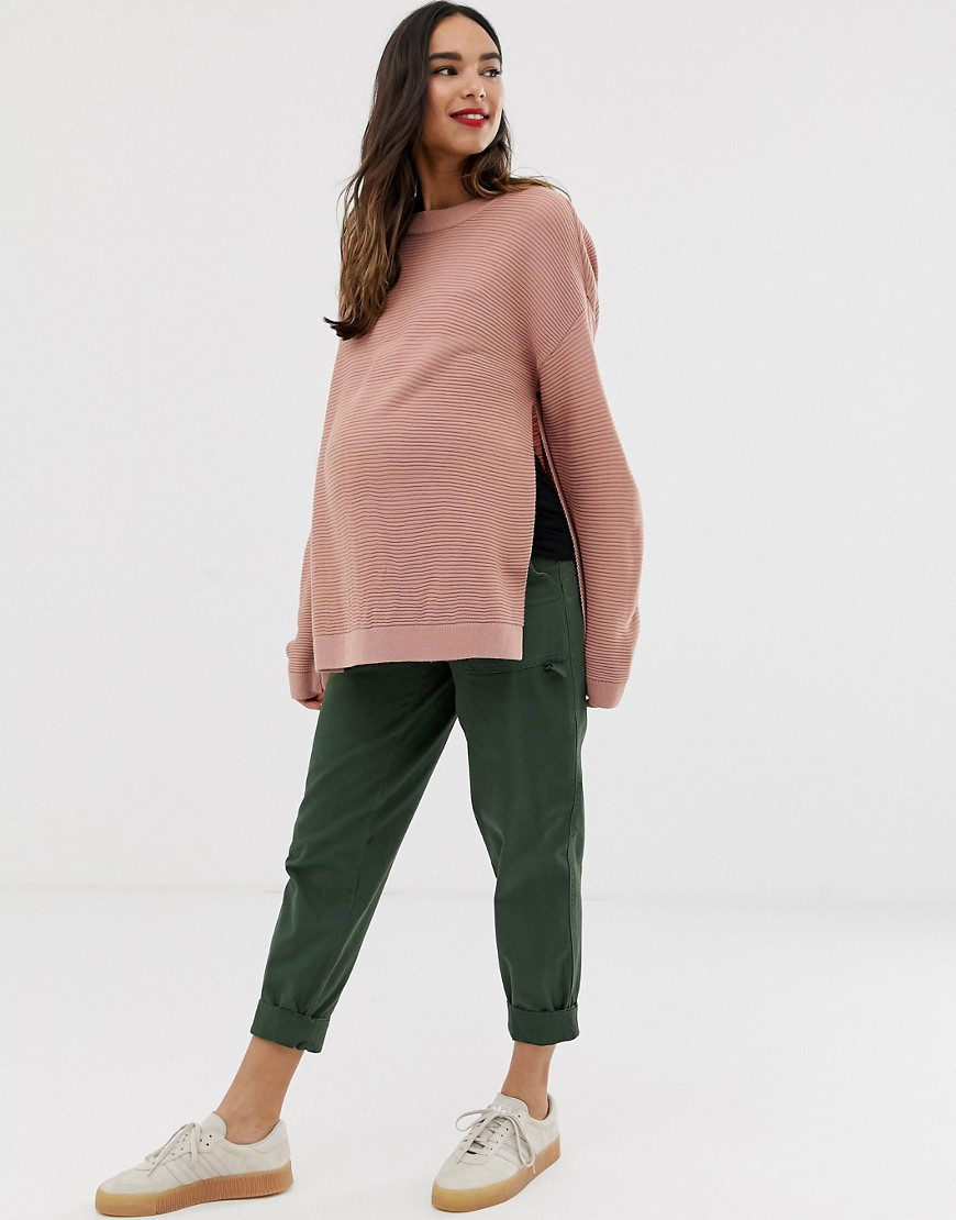 Asos Design Maternity Nursing Jumper With Ripple Stitch Detail by Asos Design
