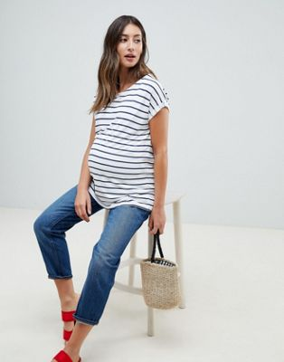 ASOS DESIGN Maternity Nursing t-shirt with crew neck double layer in stripe