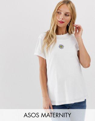 Image 1 of ASOS DESIGN Maternity nursing t-shirt with daisy motif