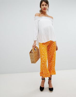 ASOS DESIGN Maternity Over The Bump Pants With Fluted Ruffle Hem In Spot Print