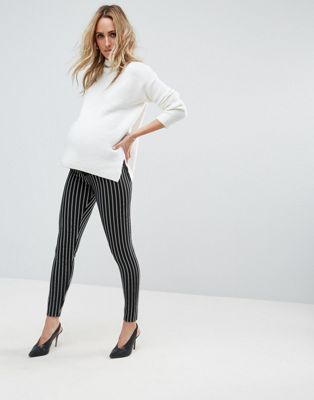 Image 1 of ASOS DESIGN  Maternity over the bump pinstripe tube pants