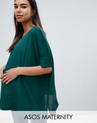 Image 1 of ASOS DESIGN Maternity oversized kimono t-shirt with v back