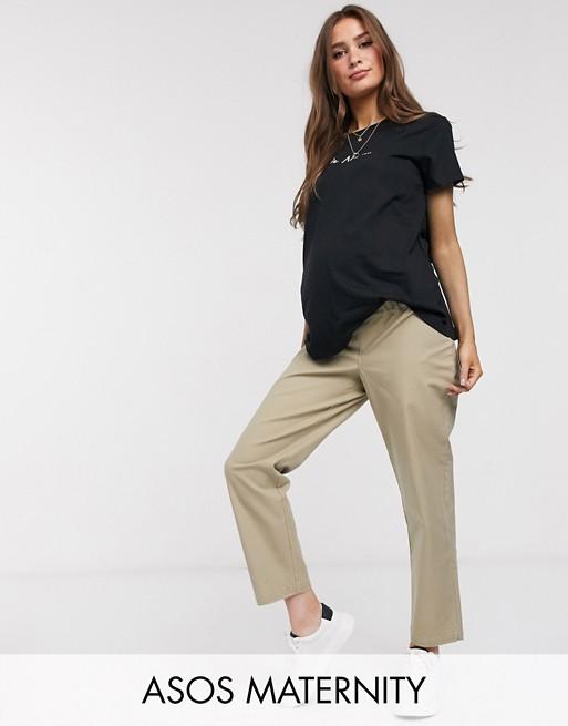 ASOS DESIGN Maternity - Pantalon droit en coton stretch flammé confortable - Taupe Pantalons et leggings femme