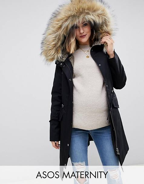 cbdf597731d1 ASOS DESIGN Maternity parka with detachable faux fur liner