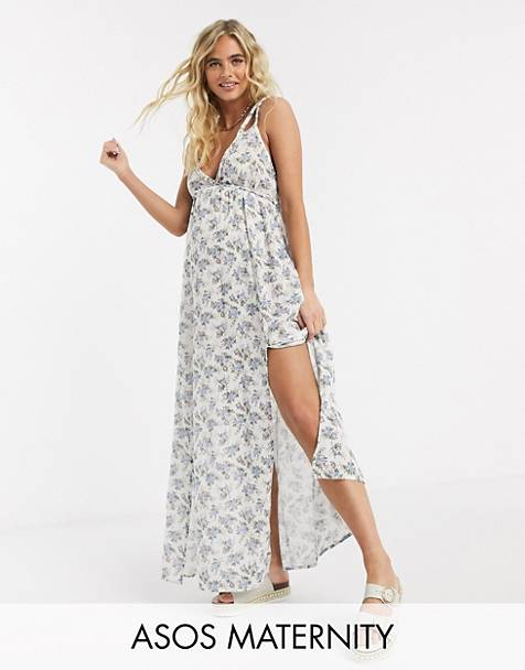 ASOS DESIGN maternity plait maxi beach dress in textured meadow floral print