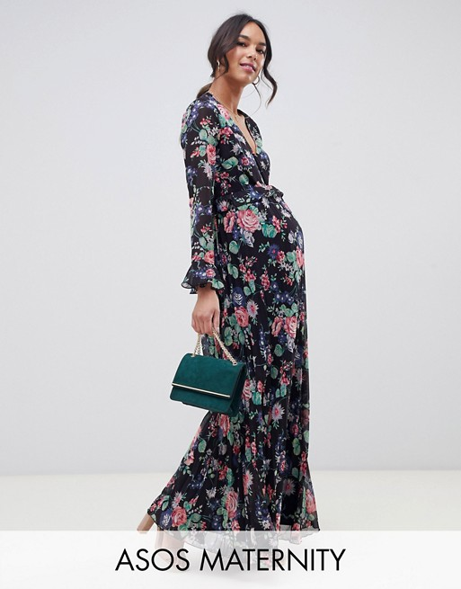 Image 1 of ASOS DESIGN Maternity pleated wrap maxi dress with ruffle in floral print