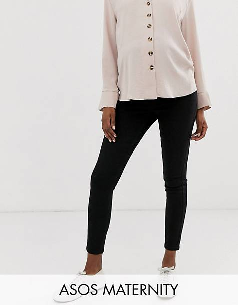 ASOS DESIGN Maternity Ridley high waisted skinny jeans in clean black with over the bump waistband