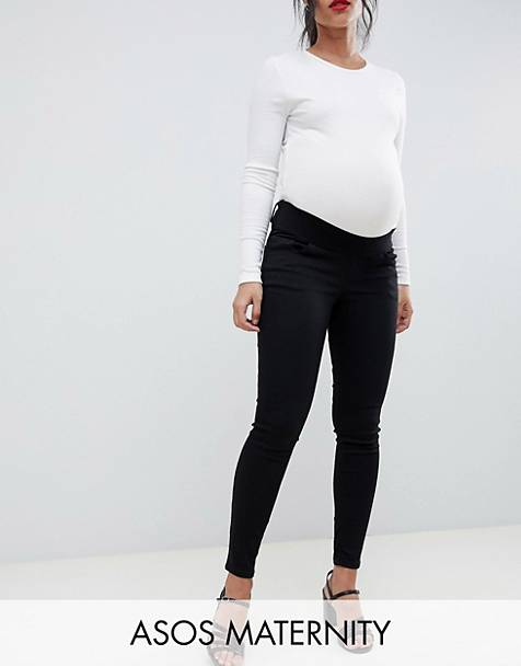 ASOS DESIGN Maternity Ridley high waisted skinny jeans in clean black with under the bump waistband
