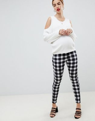 ASOS DESIGN Maternity Rivington high waisted jeans in blur gingham mono print with under the bump waistband