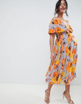 ASOS DESIGN Maternity - Robe mi-longue bandeau fluide à fleurs