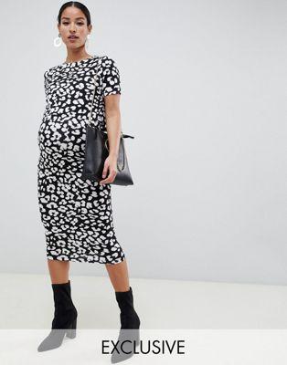 ASOS DESIGN Maternity - Robe moulante d'allaitement double épaisseur à imprimé animal - Monochrome