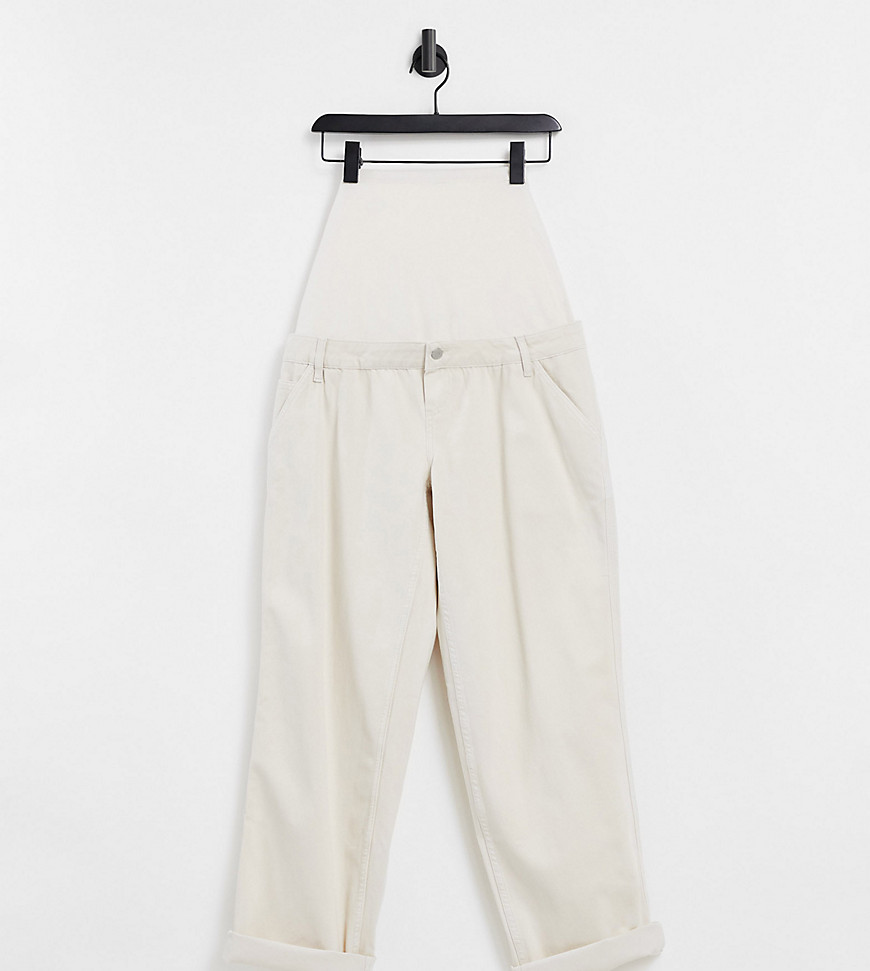 ASOS DESIGN Maternity - Ruimvallende chino met band in crème
