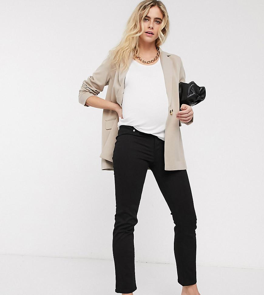 ASOS DESIGN Maternity – Sassy – Zigaretten-Jeans in Schwarz mit seitlichen Bauchbändern und hohem Bund