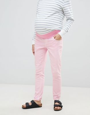 ASOS DESIGN Maternity shrunken boyfriend jeans in washed pink