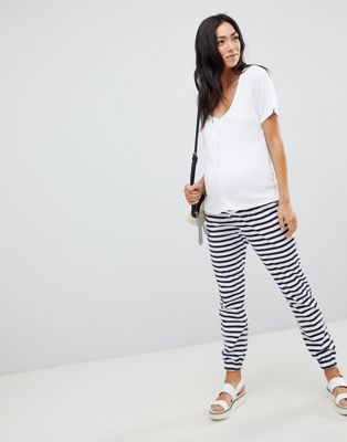 ASOS DESIGN Maternity skinny  joggers with bump band in stripe