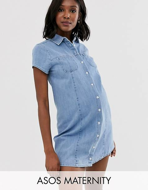ASOS DESIGN Maternity soft denim short sleeve shirt dress midwash blue