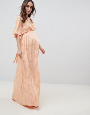 Image 1 of ASOS DESIGN Maternity Soft Jacquard Maxi Dress With Flutter Sleeve