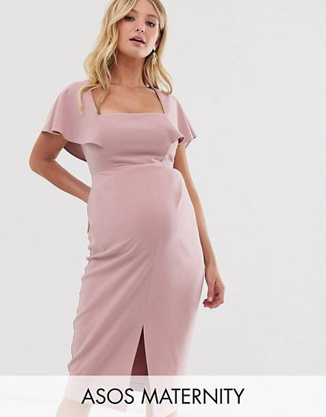 fbf2589c5e7e9 ASOS DESIGN Maternity square neck angel sleeve midi dress