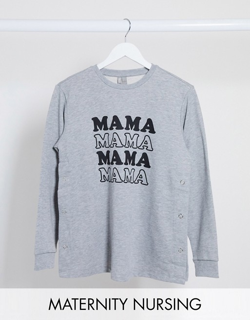 ASOS DESIGN Maternity - Sweat-shirt d'allaitement à inscription « Mama » Hoodies et sweat-shirts femme