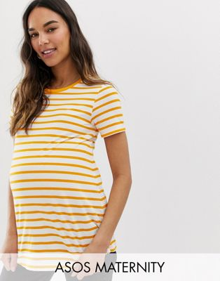 Image 1 of ASOS DESIGN Maternity t-shirt with crew neck in stripe