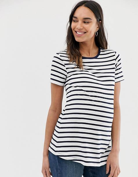 ASOS DESIGN Maternity t-shirt with crew neck in stripe