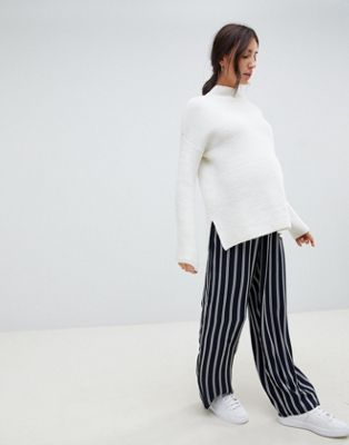 ASOS DESIGN Maternity tailored mono soft stripe wide leg